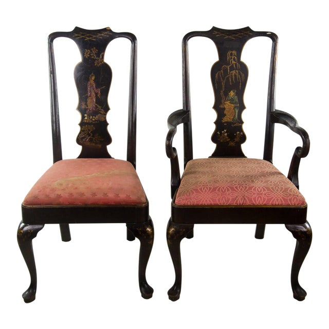 Chinoiserie Queen Anne Chairs - A Pair For Sale