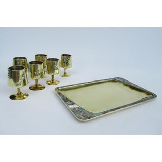 1960s Vintage Mid Century Taxco Mexican Brass & Abalone Shell Cordials & ServerTray Set - 7 Pieces Preview