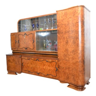 Antique Art Deco Burled Walnut Bar For Sale