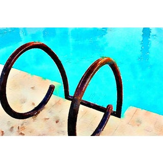 Pool Ladder Caribbean Style Poolside Art - Digital Watercolor Print For Sale