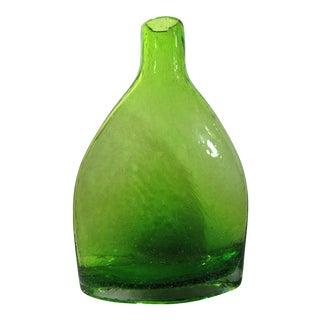 "Mid 20th Century Rippled Bubbled Blown Green Glass Vase, Jug, Bottle, Art Glass 10"" OrganicShape For Sale"