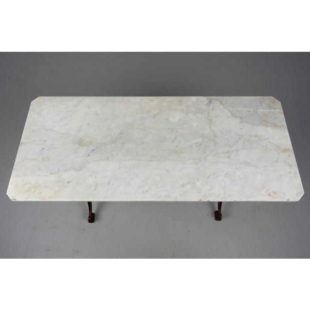 Cast Iron 1920s Antique French Cast Iron Marble Top Bistro Table For Sale - Image 7 of 8