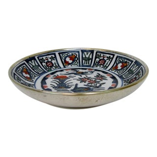 Porcelain in Silver Bowl For Sale