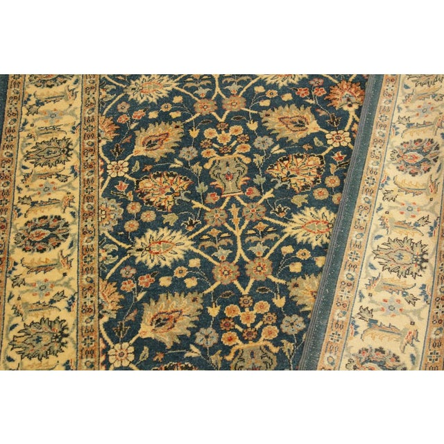 1980s Shabby Chic Istanbul Gilbert Teal/Ivory Turkish Hand-Knotted Rug -4'2 X 5'11 For Sale - Image 5 of 8
