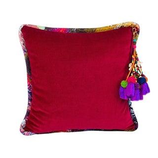 Vintage Fuchsia Gypsum Velvet Throw Pillow For Sale