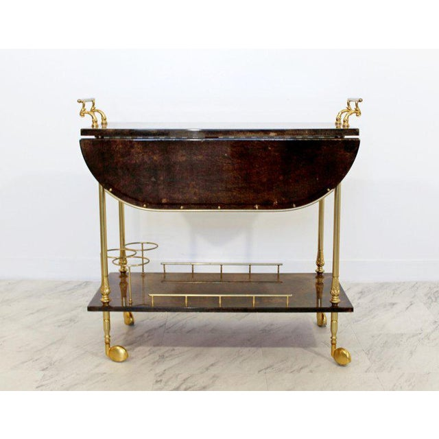 Aldo Tura 1950s Hollywood Regency Aldo Tura Goatskin Lacquered Brass Bar Cart For Sale - Image 4 of 10