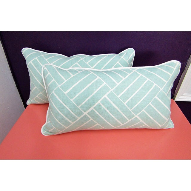 Contemporary Pattern Lumbar Pillows in Seafoam - a Pair For Sale In West Palm - Image 6 of 6