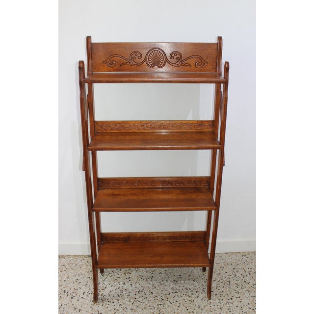 Antique Victorian Folding Bookcase in Incised Oak For Sale - Image 13 of 13