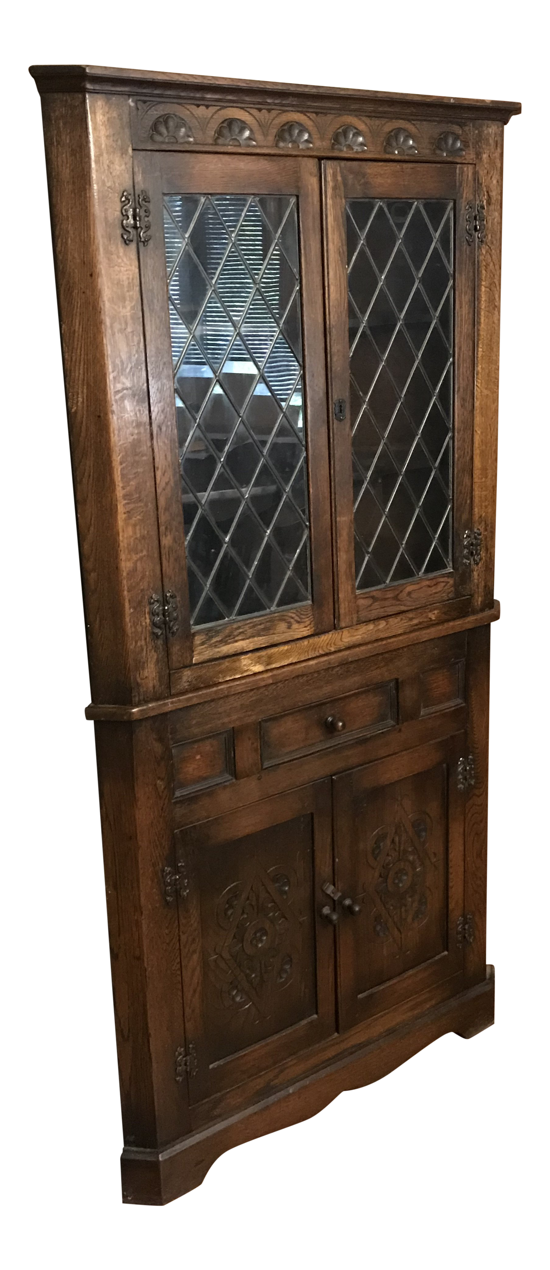 1900s Traditional Leaded Glass Corner Cabinet Glass Cabinet For Sale C49