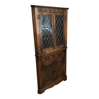 1900s Traditional Leaded Glass Corner Cabinet For Sale