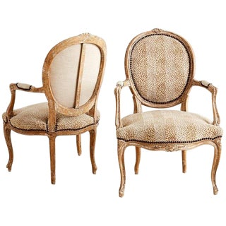 Pair of French Louis XV Style Upholstered Fauteuils For Sale