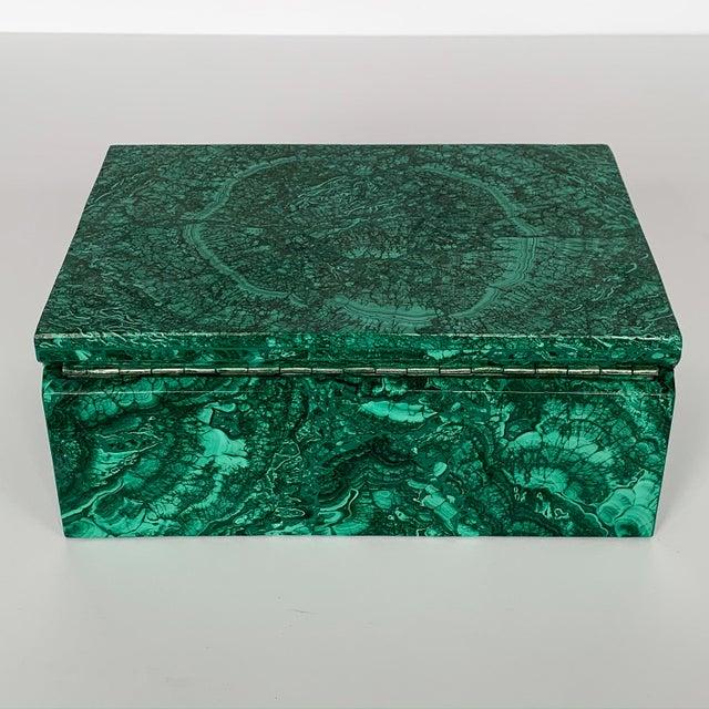 Green Large Modern Malachite Stone Jewelry Box For Sale - Image 8 of 13