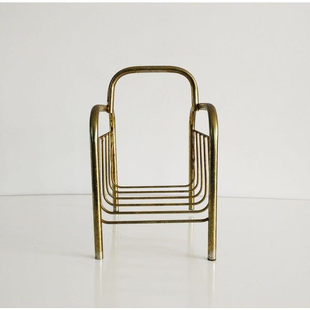 Mid-Century Modern 1960s Mid-Century Modern Brass Magazine Rack For Sale - Image 3 of 8