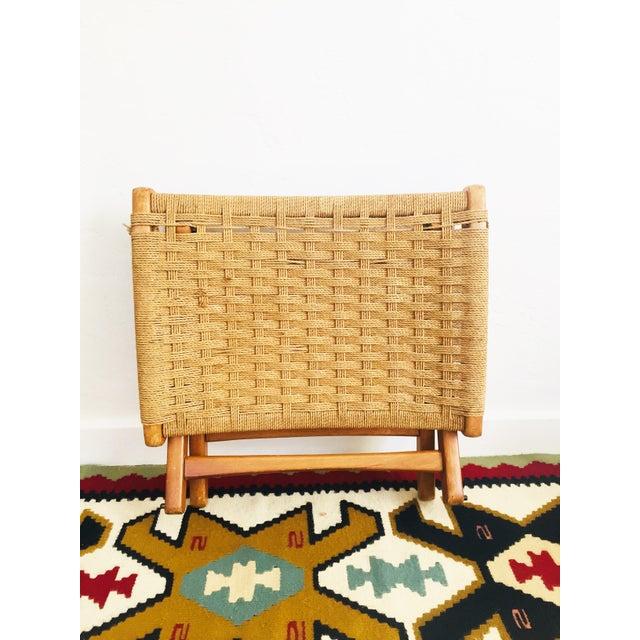 Mid Century Hans Wegner Style Folding Rope Stool For Sale - Image 9 of 10