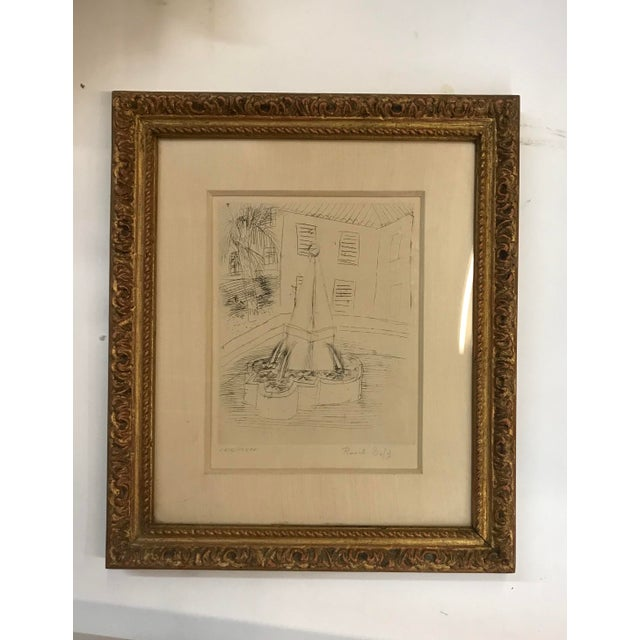 Gold 1940s Abstract Original Raoul Dufy Framed Etching For Sale - Image 8 of 8