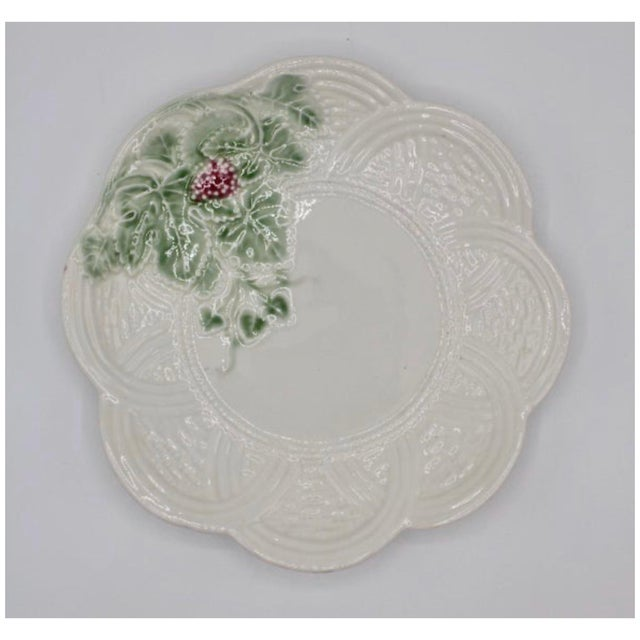 A lovely vintage Italian ceramic strawberry plate, circa 1960. Scalloped edges and woven border design. This Italian...