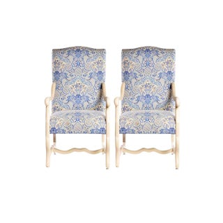 Louis Xlll Style Large Upholstered Arm Chairs- a Pair For Sale