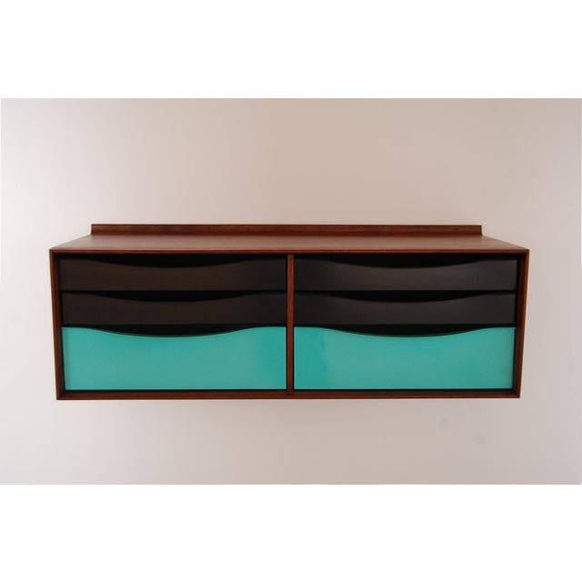 Black Vintage Mid Century Modernist Walnut and Metal Wall Hanging Cabinet For Sale - Image 8 of 8