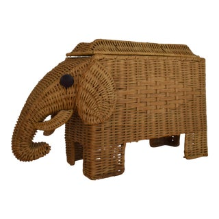 1970s Wicker Elephant Lidded Storage Basket For Sale