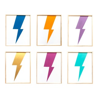 """Max & Alma Wolf """"Mulitcolor Lightning"""" Paintings - Set of 6 For Sale"""