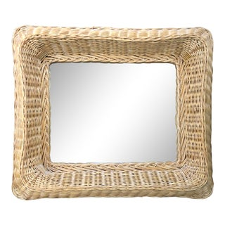 1960s Vintage Natural Woven Wicker Rattan Rectangle Mirror For Sale