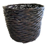 Image of Large Rustic Earthy Wood Decor Storage Basket For Sale