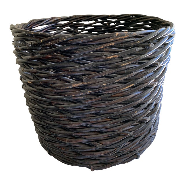 Large Rustic Earthy Wood Decor Storage Basket For Sale