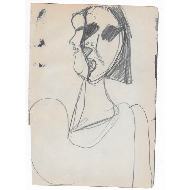 Unsigned portrait in graphite of a lady - found with similar works by the same hand, most dated 1961.