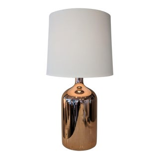 Copper Table Lamp With Tapered Linen Shade For Sale