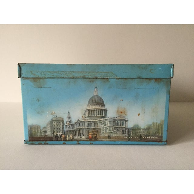 1940's Elkes Ltd. Trafalgar Large Square English Biscuit Tin Box With Lid For Sale - Image 10 of 11