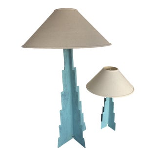 Vintage Large Memphis Post Modern Lamps Monolithic With Shades - a Pair For Sale