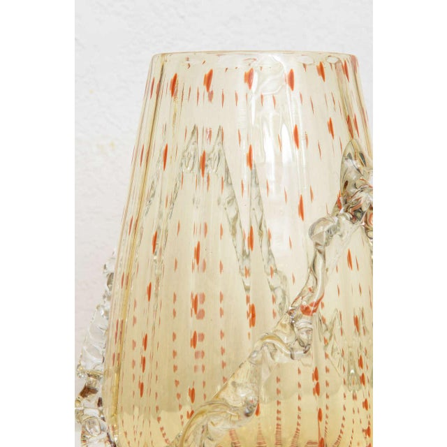 Amber and Dark Orange Colored Murano Glass Vase For Sale - Image 4 of 11