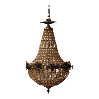 Mid-20th Century French Crystal and Bronze Four-Light Basket Chandelier For Sale