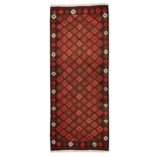 "Early 20th Century Persian Qazvin Kilim Runner - 39"" x 99"" For Sale"