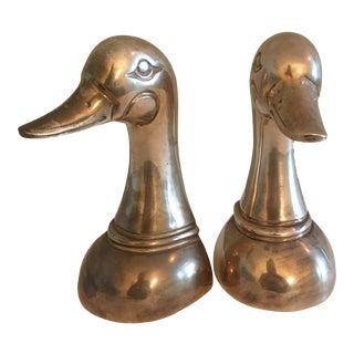 Mid-Century Brass Mallard Bookends-a Pair For Sale