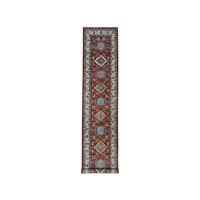 Textile Red Kazak Pure Wool Geometric Design Hand-Knotted Runner Rug For Sale - Image 7 of 7
