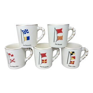 1950s Nautical Mugs With Flags and Gold Detailing - Set of 5 For Sale