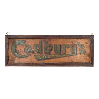Hand Painted Victorian Era Wooden Cadbury Cocao Sign C.1900 For Sale