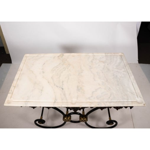 French Marble Top Bakers Table For Sale In New York - Image 6 of 7