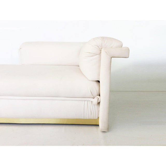 Art Deco Two French Art Deco Chaise Lounges with Brass Base For Sale - Image 3 of 10