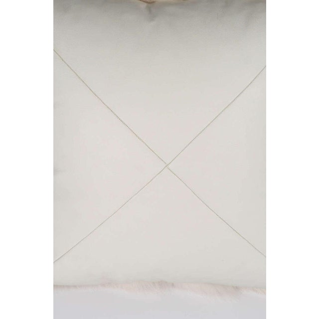 Venfield Genuine White Fox Pillow with White Leather Backing For Sale - Image 4 of 6