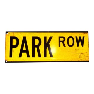 "1960s New York City Yellow Reflective Street Sign ""Park Row"" - Financial District For Sale"