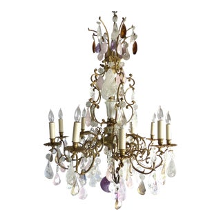 19th C French Amethyst Quartz, Rock Crystal and Rose Quart Chandelier For Sale