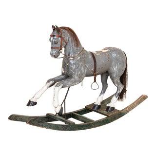 Antique Swedish Original Painted Child's Rocking Horse For Sale