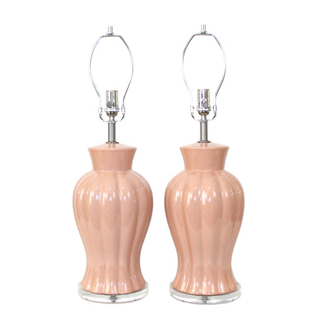 Art Deco Revival Pink Crackle Glaze Lamps - Pair - Image 1 of 6