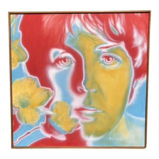 Late 20th Century Richard Avedon Style Paul McCartney Psychedelic Painting For Sale