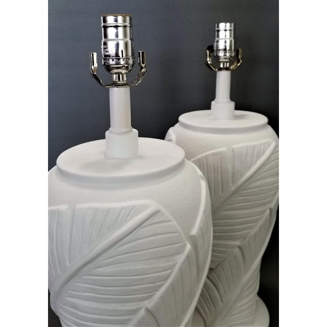 White Plaster Palm Banana Leaf Lamps in the Style of Serge Roche - a Pair For Sale - Image 9 of 13