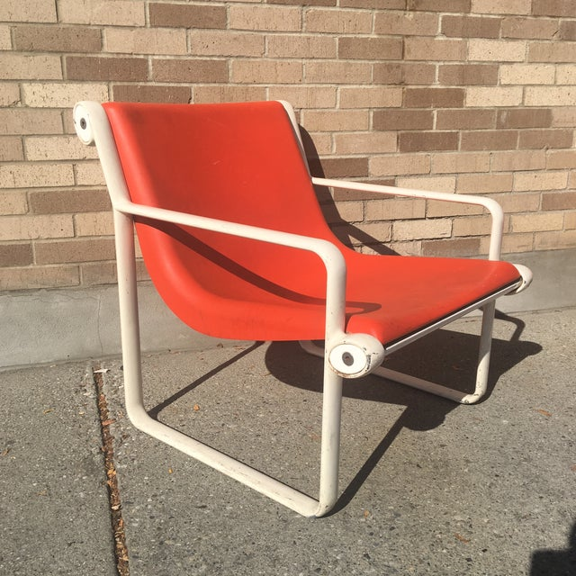 Aluminum Knoll Iconic Orange Shell Lounge Chairs - A Pair For Sale - Image 7 of 8