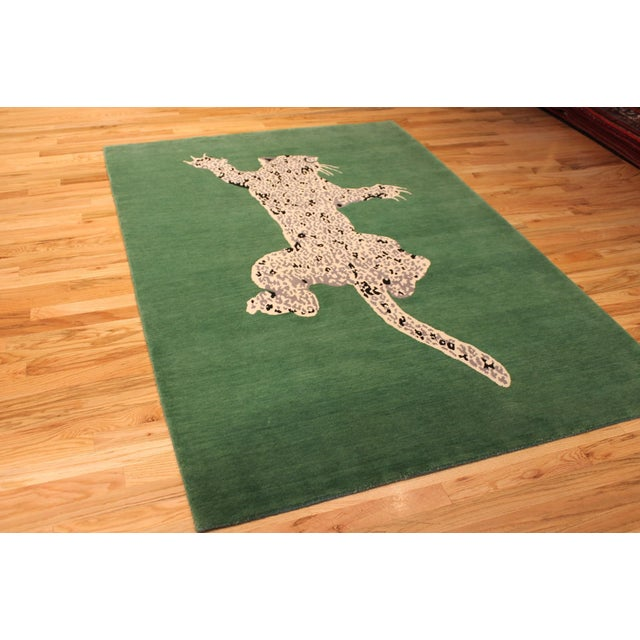 Art Deco Green Gabeh Fine Leopard Hand Knotted Rug For Sale - Image 3 of 8