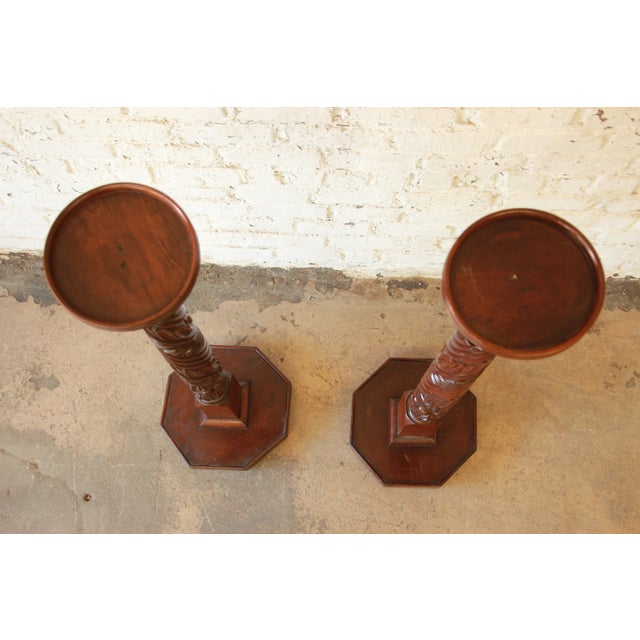 19th Century Carved Mahogany Plant Stands - a Pair For Sale - Image 4 of 9